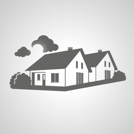 Vector symbol of home, group of houses icon, realty silhouette, sign of real estate - illustration