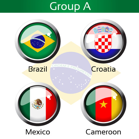 cameroon: Vector flags - football Brazil, group A - Brazil, Croatia, Mexico, Cameroon - illustration Illustration