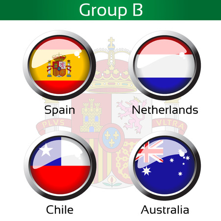 group b: Vector flags - football Brazil, group B - Spain, Netherlands, Chile, Australia - illustration Illustration