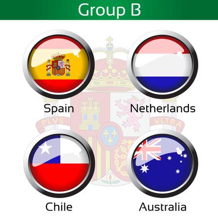 Vector vlaggen - voetbal Brazilië, groep B - Spanje, Nederland, Chili, Australië - illustratie