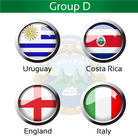 Vector flags - football Brazil, group D - Uruguay, Costa Rica, England, Italy - illustration Vector