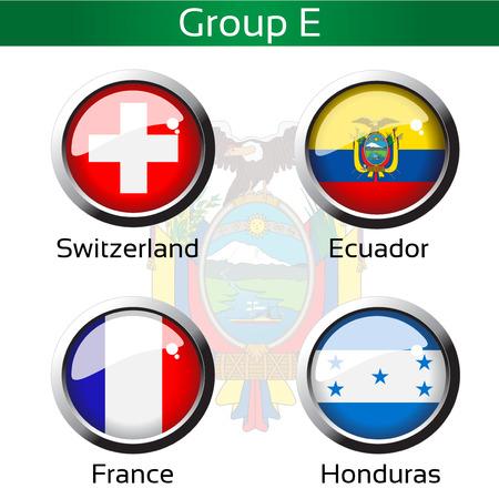 Vector vlaggen - voetbal Brazilië, groep E - Zwitserland, Ecuador, Frankrijk, Honduras - illustratie