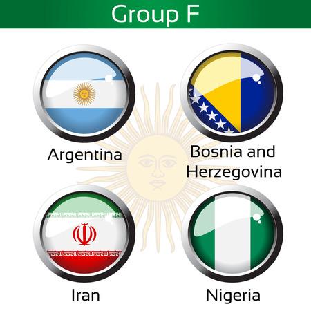nigeria: Vector flags - football Brazil, group F - Argentina, Bosnia and Herzegovina, Iran, Nigeria - illustration Illustration