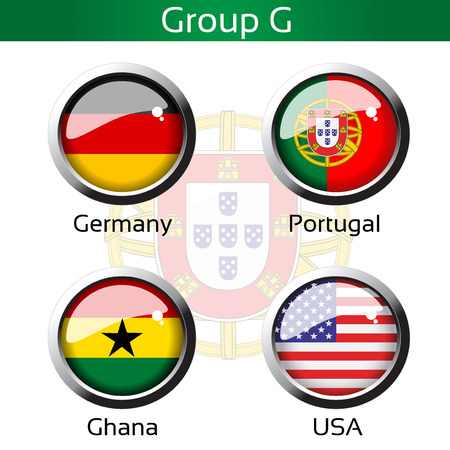 metalic background: Vector flags - calcio Brasile, Gruppo G - Germania, Portogallo, Ghana, Stati Uniti d'America - illustrazione