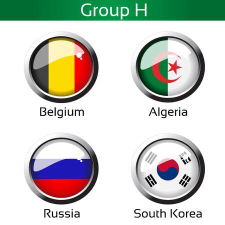 metalic background: Vector flags - calcio del Brasile, gruppo H - Belgio, Algeria, Russia, Corea del Sud - illustrazione