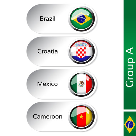 Vector flags - football Brazil, group A - Brazil, Croatia, Mexico, Cameroon - illustration Vector