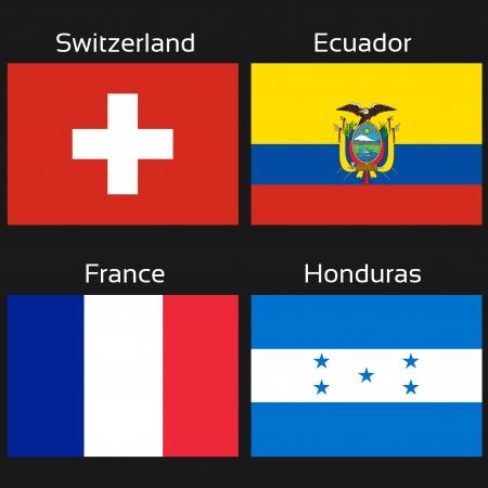 Vector flags - football Brazil, group E - Switzerland, Ecuador, France, Honduras - illustration Vector