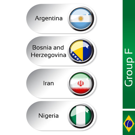Vector flags - football Brazil, group F - Argentina, Bosnia and Herzegovina, Iran, Nigeria - illustration Vector