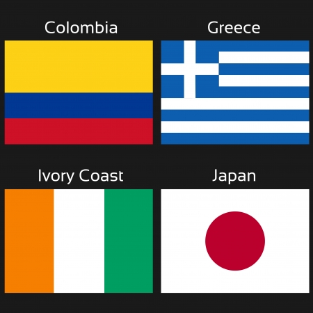 Vector flags - football Brazil, group C - Colombia, Greece, Ivory Coast, Japan - illustration Vector