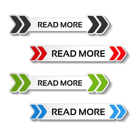 Vector lees meer knoppen met pijlen - illustratie Stock Illustratie