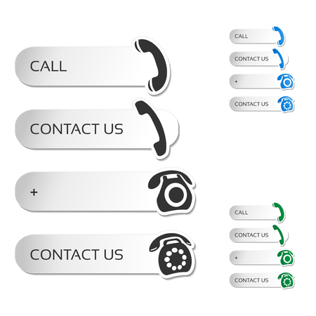 telephone icons: Vector contact, call buttons - telephone icons, symbols - illustration