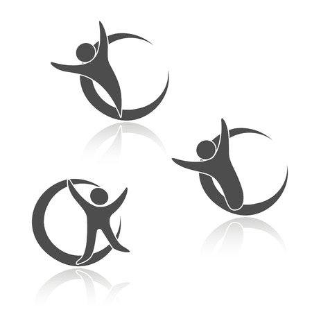 Vector rounded human icons, sign of body, fitness symbols - illustration