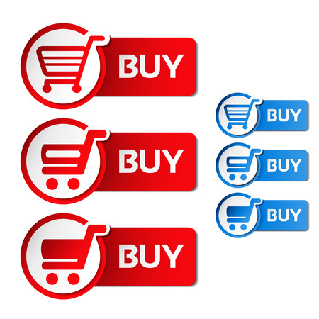 menu buttons: Vector simple shopping cart, menu items, white buttons with trolley - illustration