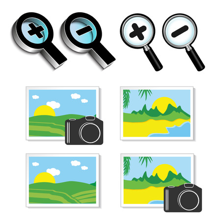 Vector icons of magnifying glass and icons of images, photos - illustration