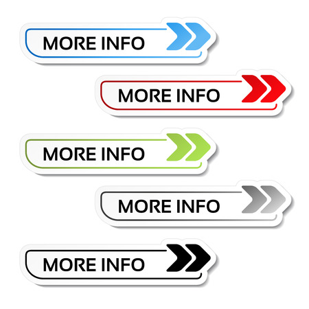 Vector more info buttons with arrows - labels on the white background - illustration Illustration