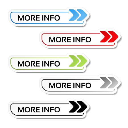 Vector más información botones con flechas - etiquetas en el fondo blanco - ilustración Ilustración de vector