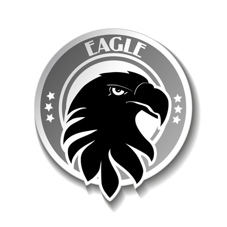 rounded: Vector rounded symbol of eagle, black sketch head - illustration