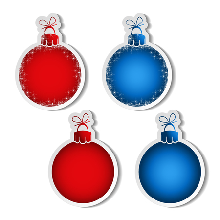 advertising text: Vector red and blue balls for advertising text on the white background, stickers with shadow - illustration