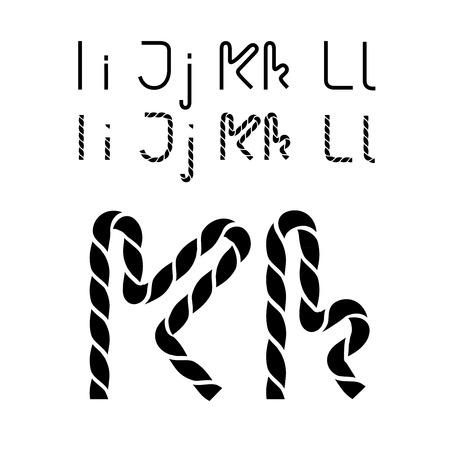 compose: Vector twine font alphabet - simple rope letters - I, i, J, j, K, k, L, l - illustration