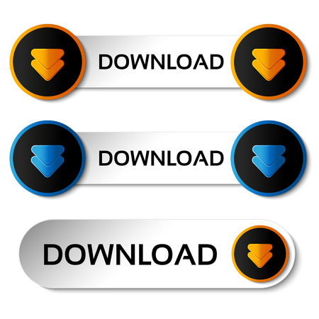 vector download: Vector download buttons with arrow - labels, stiskers on the white background - illustration