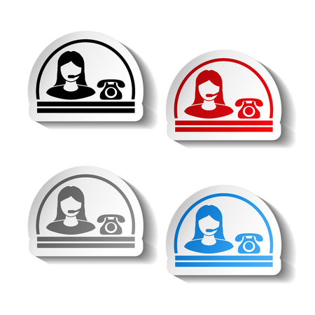 phone button: Vector button of contact - semicircle design, woman, operator on the phone - illustration