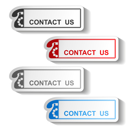 contactus: Vector button of contact us - rectangle design with old phone - illustration