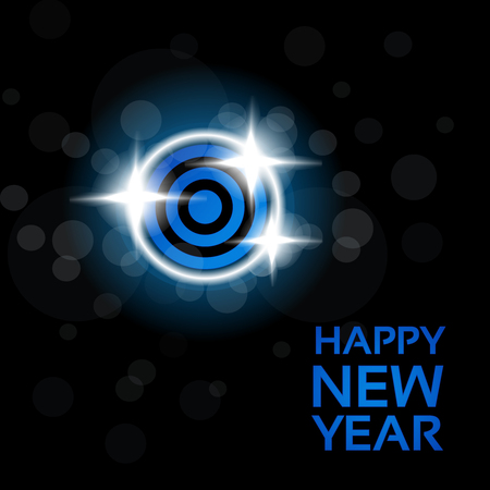 black blue: Vector happy New Year - blue disco lights on the black background, abstract wallpaper - illustration