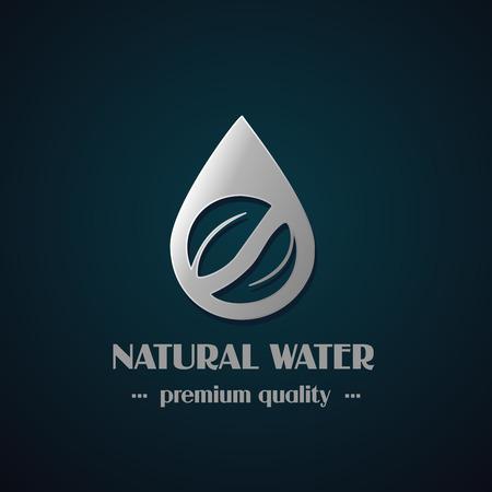 dark chrome: Vector chrome drop symbol with leaf on dark background, natural label for mineral water - illustration Illustration