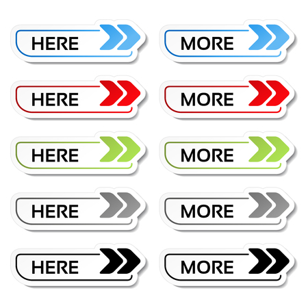 Vector here, more buttons with arrows - labels, stickers on the white background - illustration