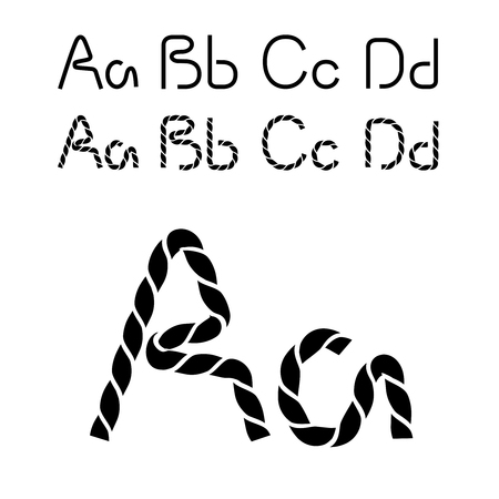 compose: Vector twine font alphabet - simple rope letters - A, a, B, b, C, c, D, d - illustration