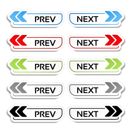 next to: Vector prev, next buttons with arrows - labels, stickers on the white background - illustration