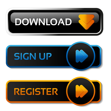 Vector download, sign up and register black buttons with arrows - labels on the white background - illustration