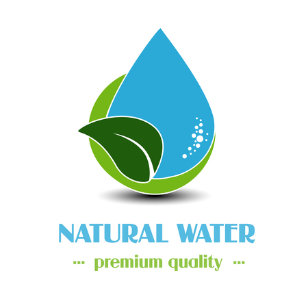 leaf water: Vector drop symbol with leaf on white background, natural label for mineral water - illustration