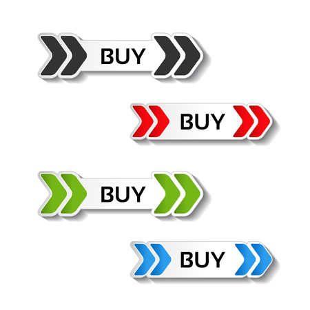 menu buttons: Vector simple shopping cart, menu items, buttons with arrows - labels, stickers on the white background - illustration