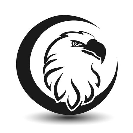 freedom of expression: Vector rounded symbol of eagle, black sketch head - illustration