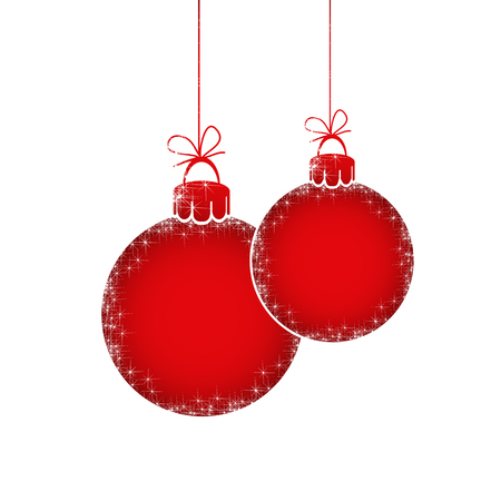 Vector Merry Christmas, flashy red balls for advertising text on the white background - illustration