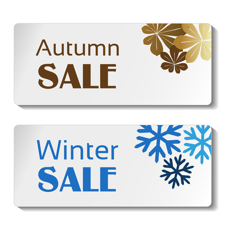 white sticker: Vector paper autumn and winter sale label, white sticker with brown leaves and blue snowflakes - illustration Illustration