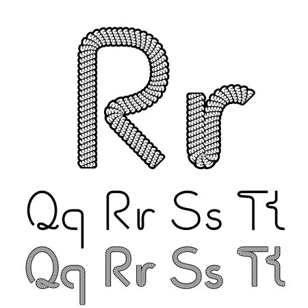 compose: Vector twine font alphabet - simple rope letters - Q, q, R, r, S, s, T, t - illustration