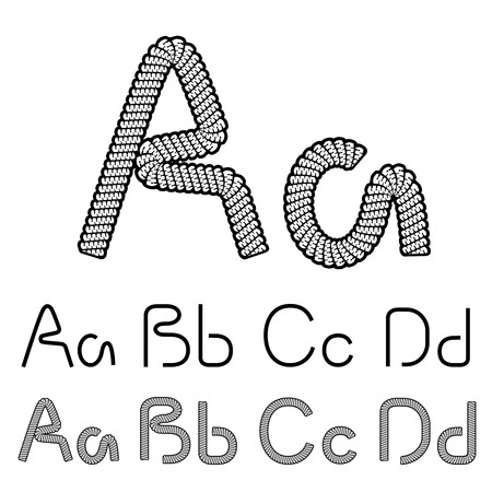 twine: Vector twine font alphabet - simple rope letters - A, a, B, b, C, c, D, d - illustration