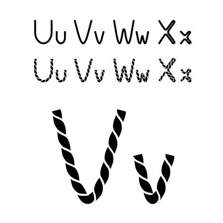 compose: Vector twine font alphabet - simple rope letters - U, u, V, v, W, w, X, x - illustration Illustration