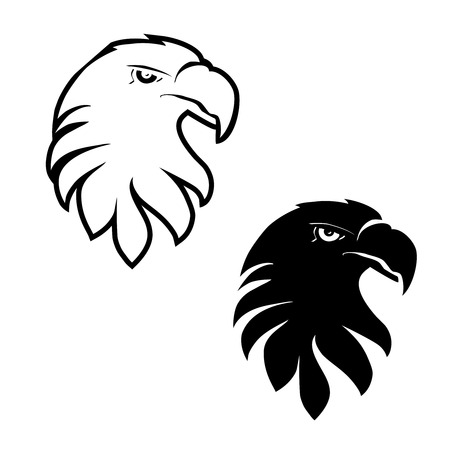 Vector symbols of eagle, black sketch head - illustration