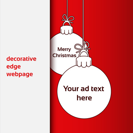 advertising text: Vector Merry Christmas - decorative edge webpage, Christmas balls for advertising text on the red background - illustration
