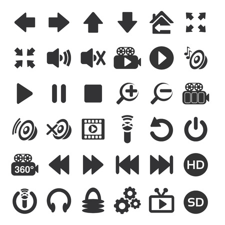 again: Vector photo, audio, video interface icon - button on white background - illustration