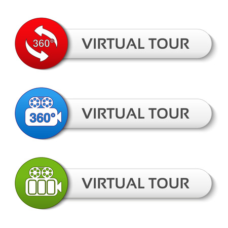 blue buttons: Vector buttons for virtual tour, red, green and blue labels - stickers with arrows and camera - illustration