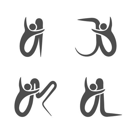 Vector font alphabet with symbol of human - simple letters - I, J, K, L - illustration