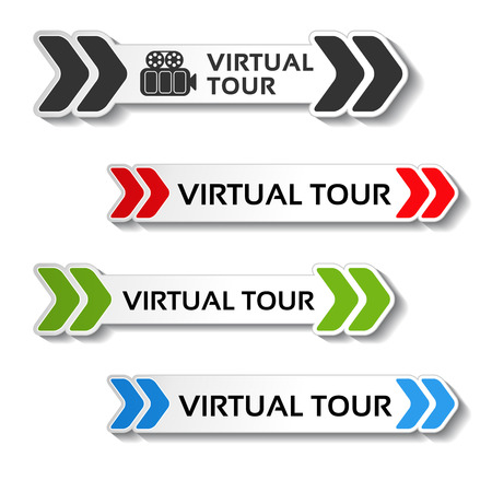 blue buttons: Vector buttons for virtual tour, black, red, green and blue labels - stickers with arrows - illustration