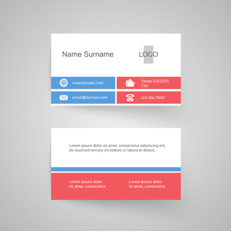 blue card: Vector modern business card, white, pink, blue, simple template - illustration
