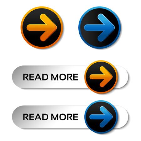 klik: Vector lees meer knoppen met pijl - labels op de witte achtergrond - illustratie