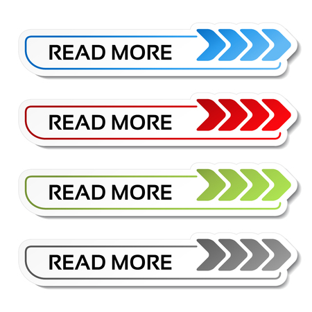 here: Vector read more buttons with arrows - labels on the white background - illustration