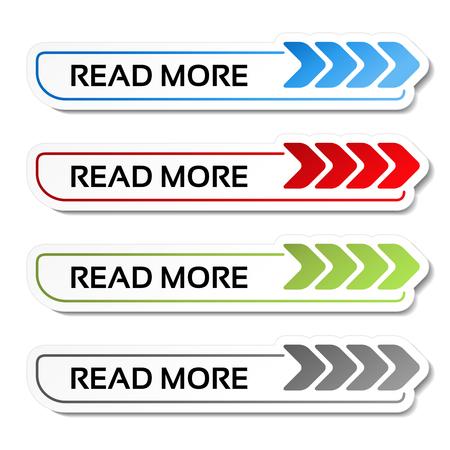 Wektor czytaj więcej przycisków ze strzałkami - etykiety na białym tle - ilustracja
